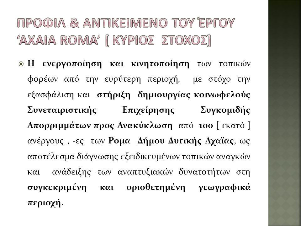 Προφιλ & Αντικειμενο του Έργου 'axaia roma' [ κυριος στοχος]